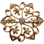Edwardian 10k Rose Gold Diamond and Seed Pearls Pin