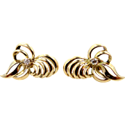 14k Gold and Diamonds Retro Bow Motif Pierced Earrings