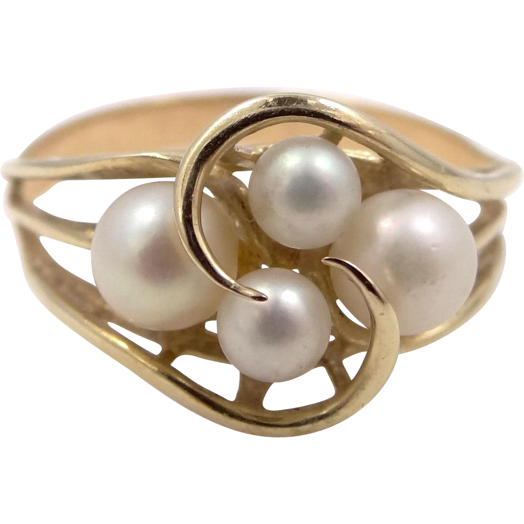 10k Gold Cultured Pearl Lady's Size 10 Ring