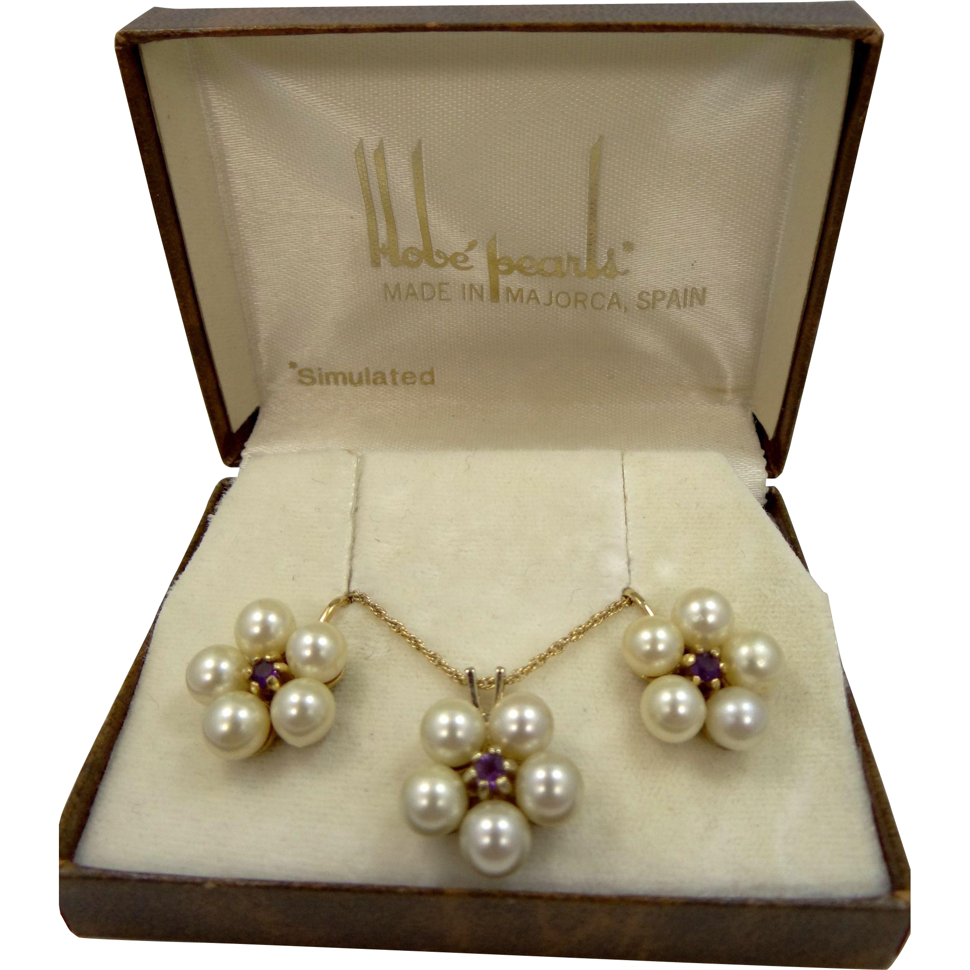 Hobe Faux Pearls Necklace and Matching Earrings Mint in Original Box