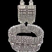"1 1/2"" Wide Rhinestone Bracelet and Matching Chandelier Earrings"