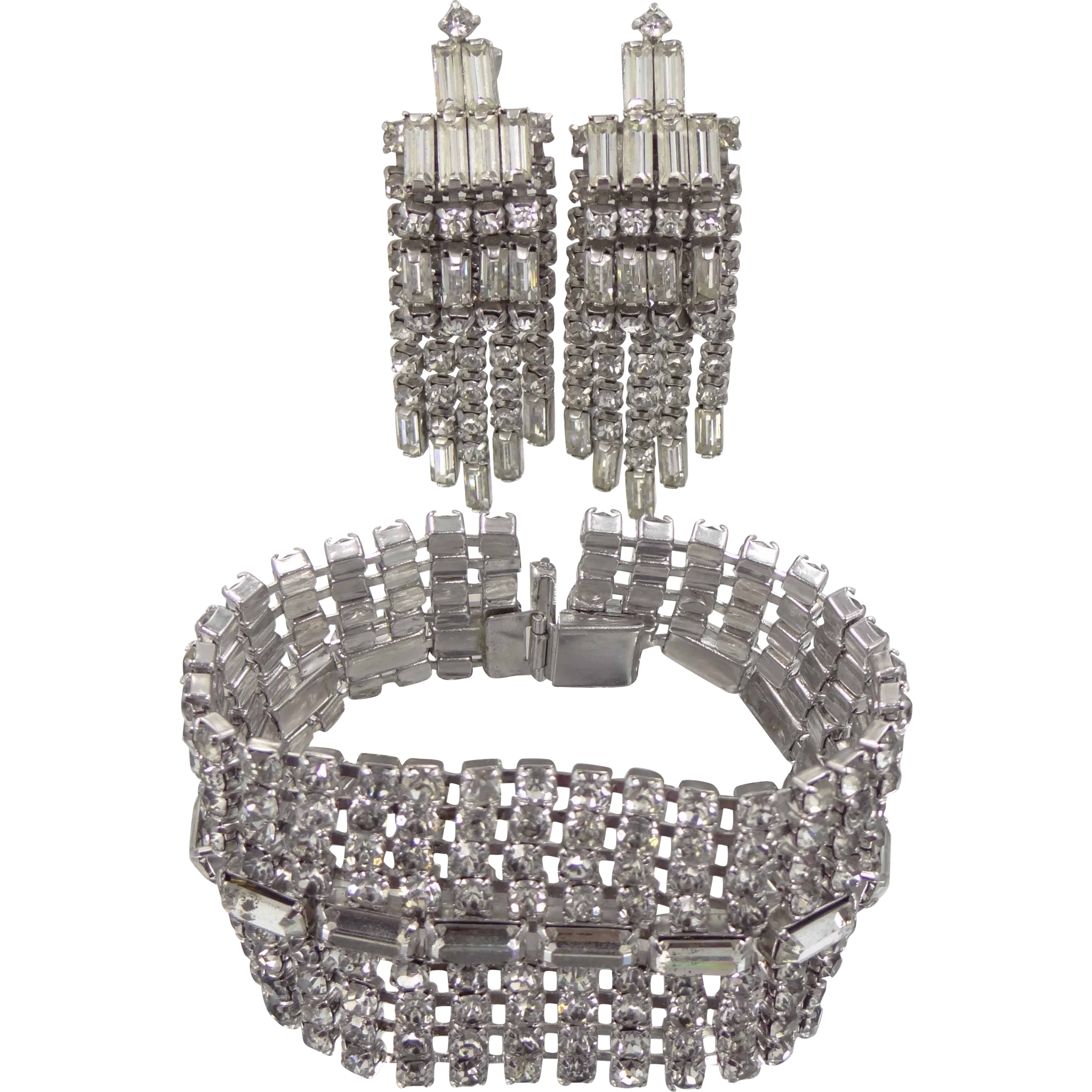 "1 1/2"" Wide Rhinestone Bracelet and Matching Chandelier Earrings"