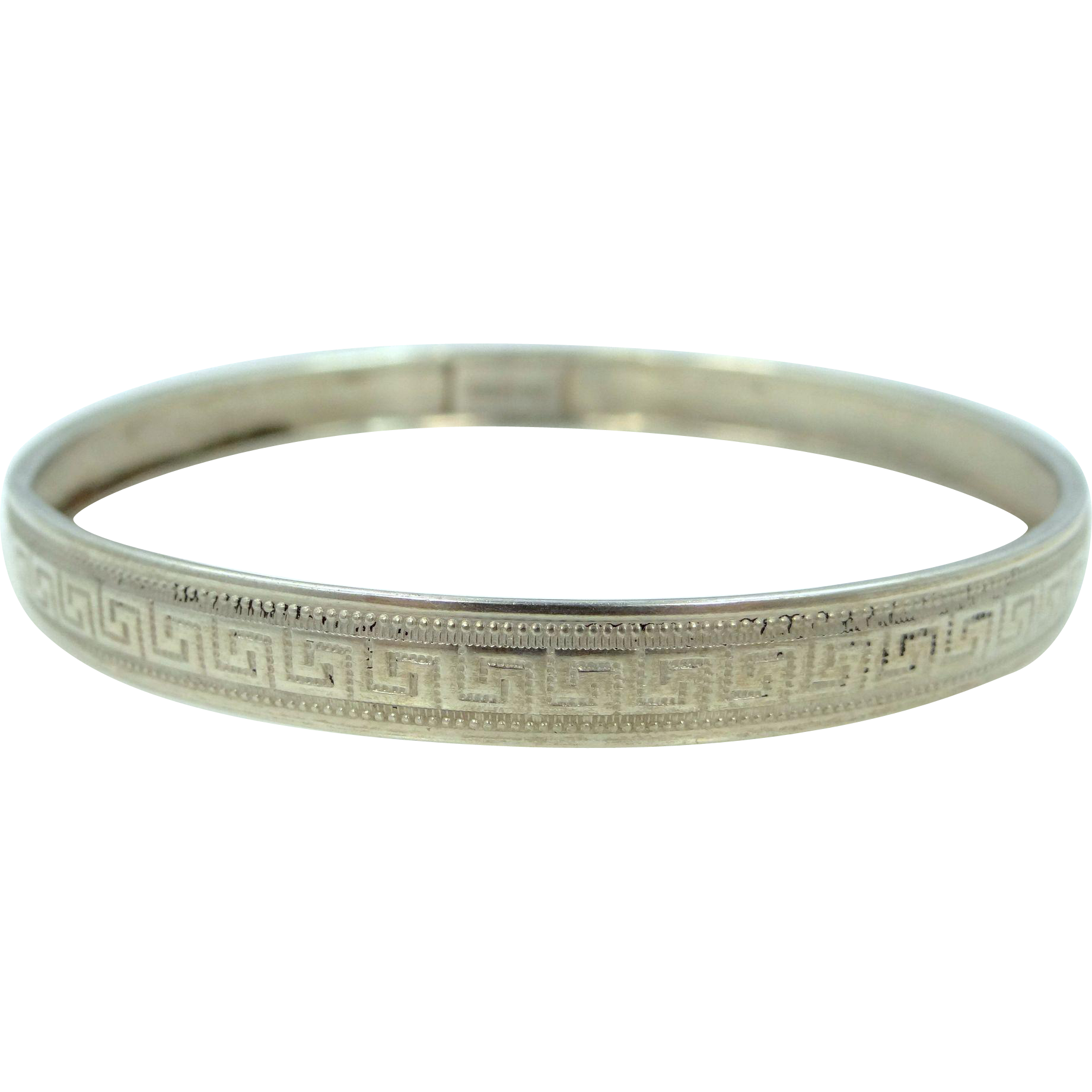 Sterling With Greek Key Design Art Deco Bangle Bracelet
