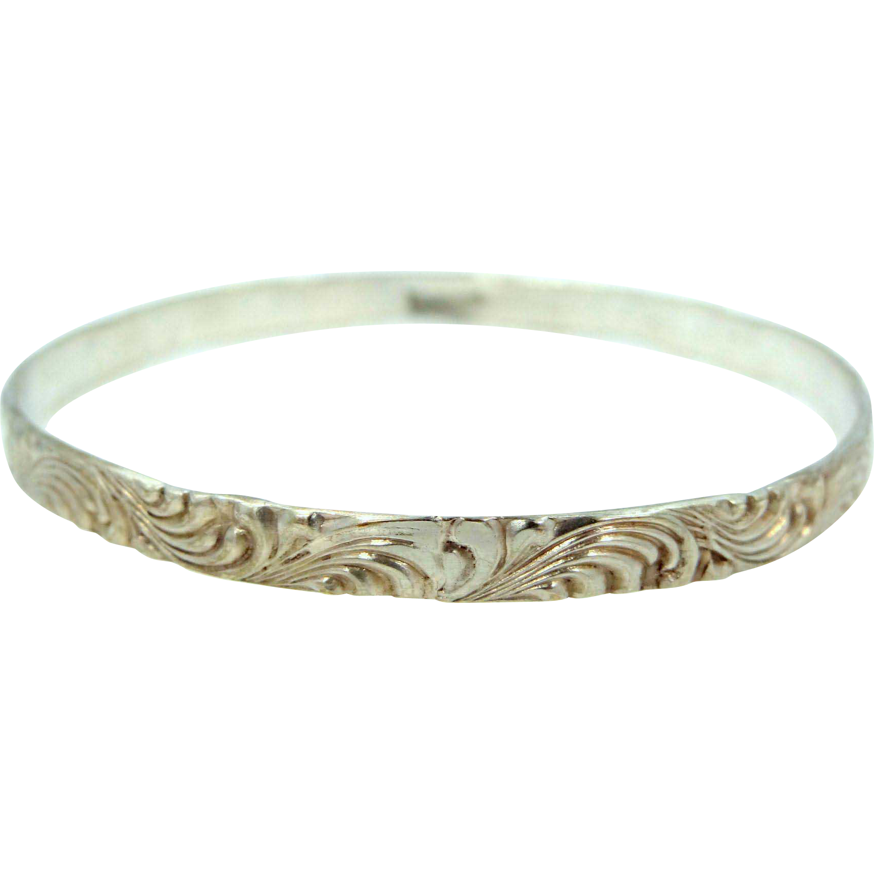 Solid Sterling Silver Floral Patterned Art Deco Bangle Bracelet