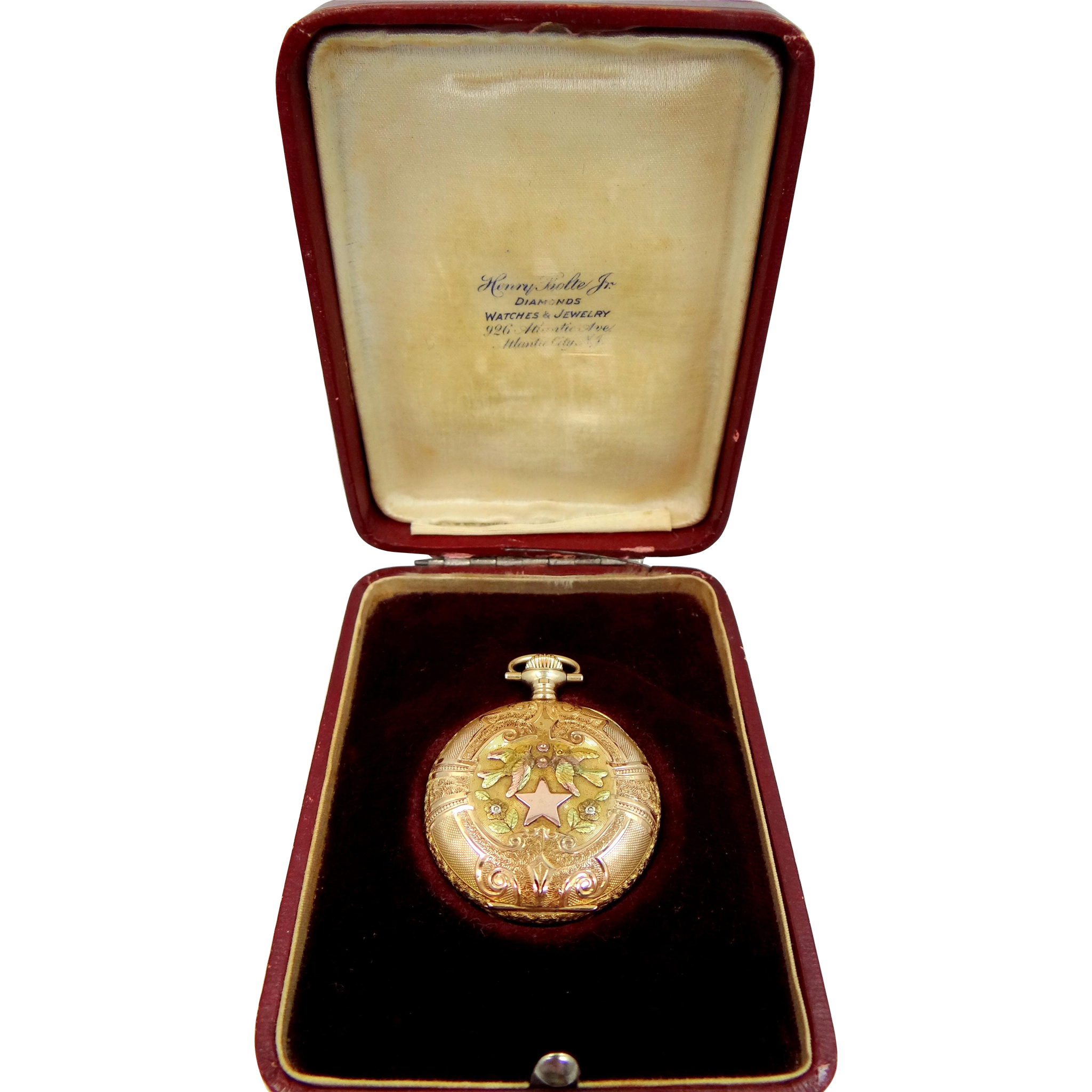 Antique 14k Tri Color Gold Lady's 1911 Hunter Case Pocket Watch with Box