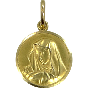 18k Solid Gold Blessed Mother Medal