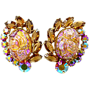 Juliana Oval Coated Irregular Baroque Rose Quartz Glass D & E Clip on Earrings