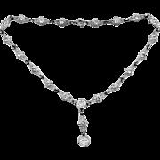 Art Deco Silver Tone Metal Paste Crystals Necklace
