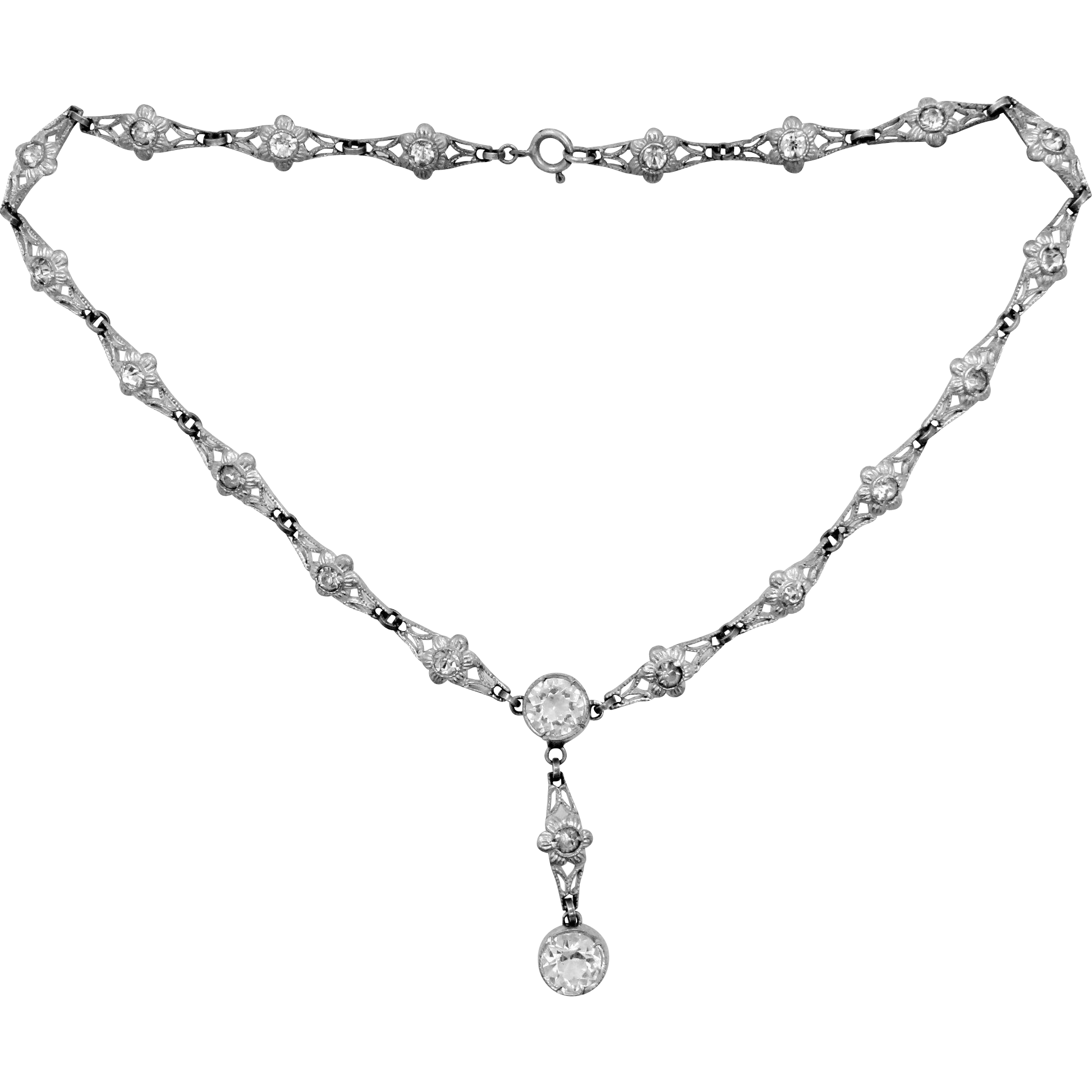 Art Deco Silver Tone Metal Paste Crystals Necklace
