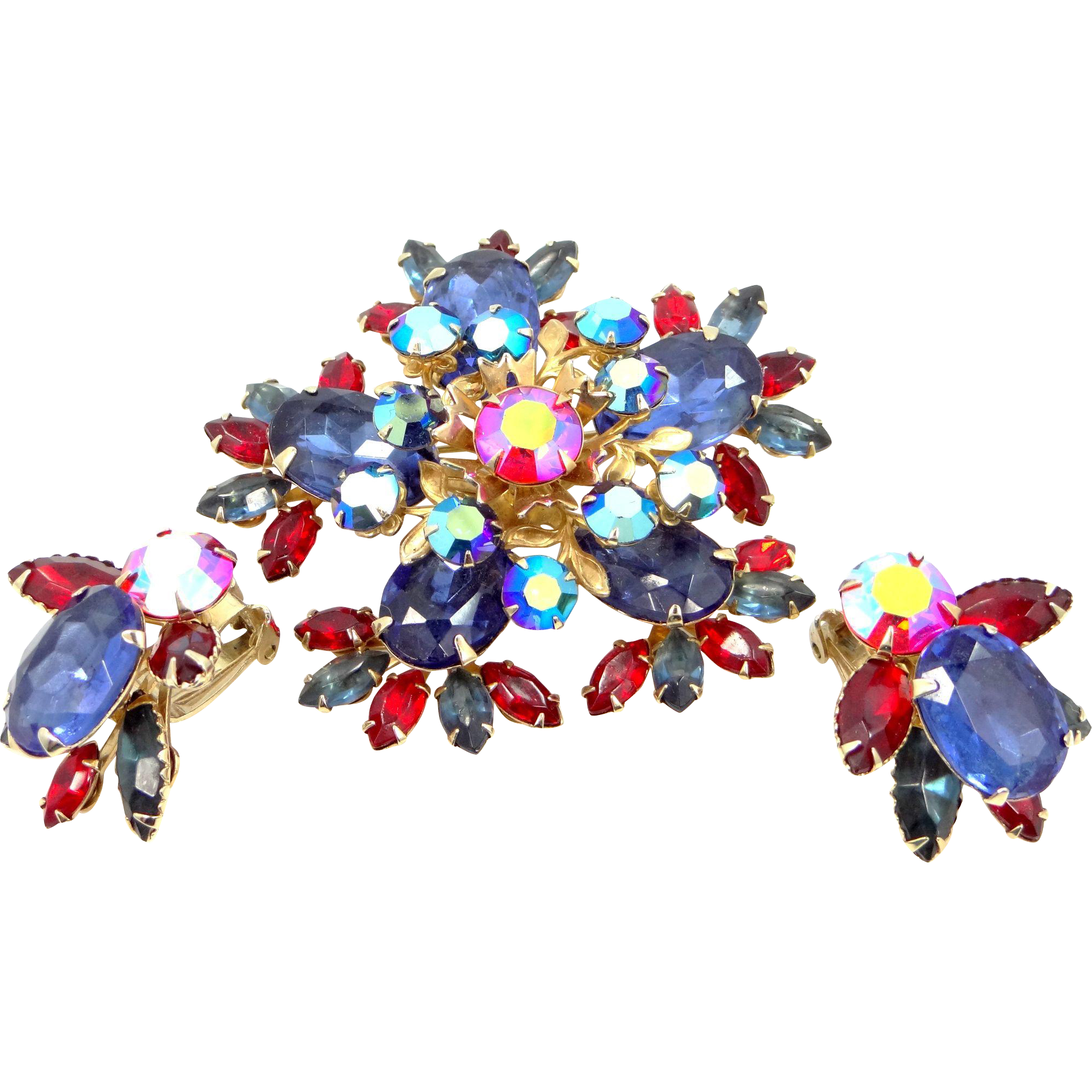 BeauJewels Large Multi Colored Pin and Matching Earrings