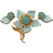 B.S.K. Enamel and Faux Turquoise Beads Flower Pin and Earrings BSK