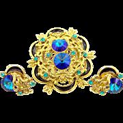 Pretty Cobalt Blue Rivoli Rhinestones and Black Enamel Pin & Earrings