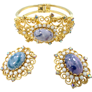 Juliana D & E Heart Scrolls with Mosaic Stones Clamper and Earrings