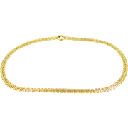 """14k Solid Gold Flat Byzantine 17"""" Long Necklace 12.7 Grams"""
