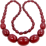 "Art Deco Cherry Amber Bakelite 28"" Long Necklace"