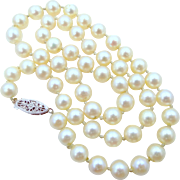 "17"" Long Cultured Pearls Necklace with 14k White Gold Filigree Clasp"