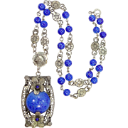 Nice Cobalt Blue Lapis Glass Czechoslovakia Art Deco Necklace