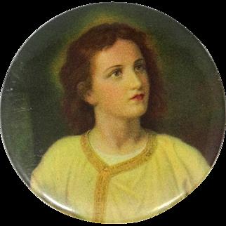 Vintage Celluloid Young Jesus Christ Pocket Mirror