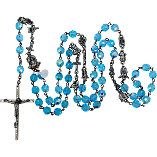 1960s Blue Glass Rosary With Stations of the Cross