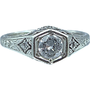 Art Deco 14k White Gold Filigree 1/2 Carat Solitaire Diamond Ring