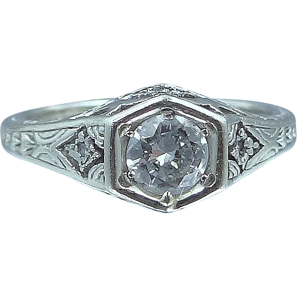 Art Deco 14k White Gold Filigree 1/2 Carat Solitaire Diamond Ring