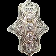 18k White Gold Art Deco Three Diamond Filigree Ring