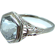 Art Deco 14k White Gold Filigree Aquamarine Ring