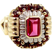 1940's Retro 10k White and Rose Gold Ruby Ring