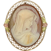 Blessed Mother Gold Filled with Black Hills Gold Leaves Filigree Cameo Pin / Pendant