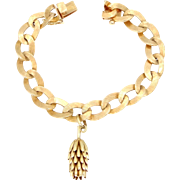 14k Solid Gold Bracelet with Large Banana Bunch Charm 27.8 Grams
