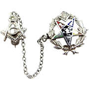 14k White Gold Diamonds and Enamel Eastern Star Masonic Scatter Pins