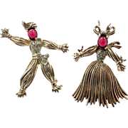 Trifari Sterling Silver Nenette and Rintintin 1940's Rag Doll Pin Set by Alfred Philippe