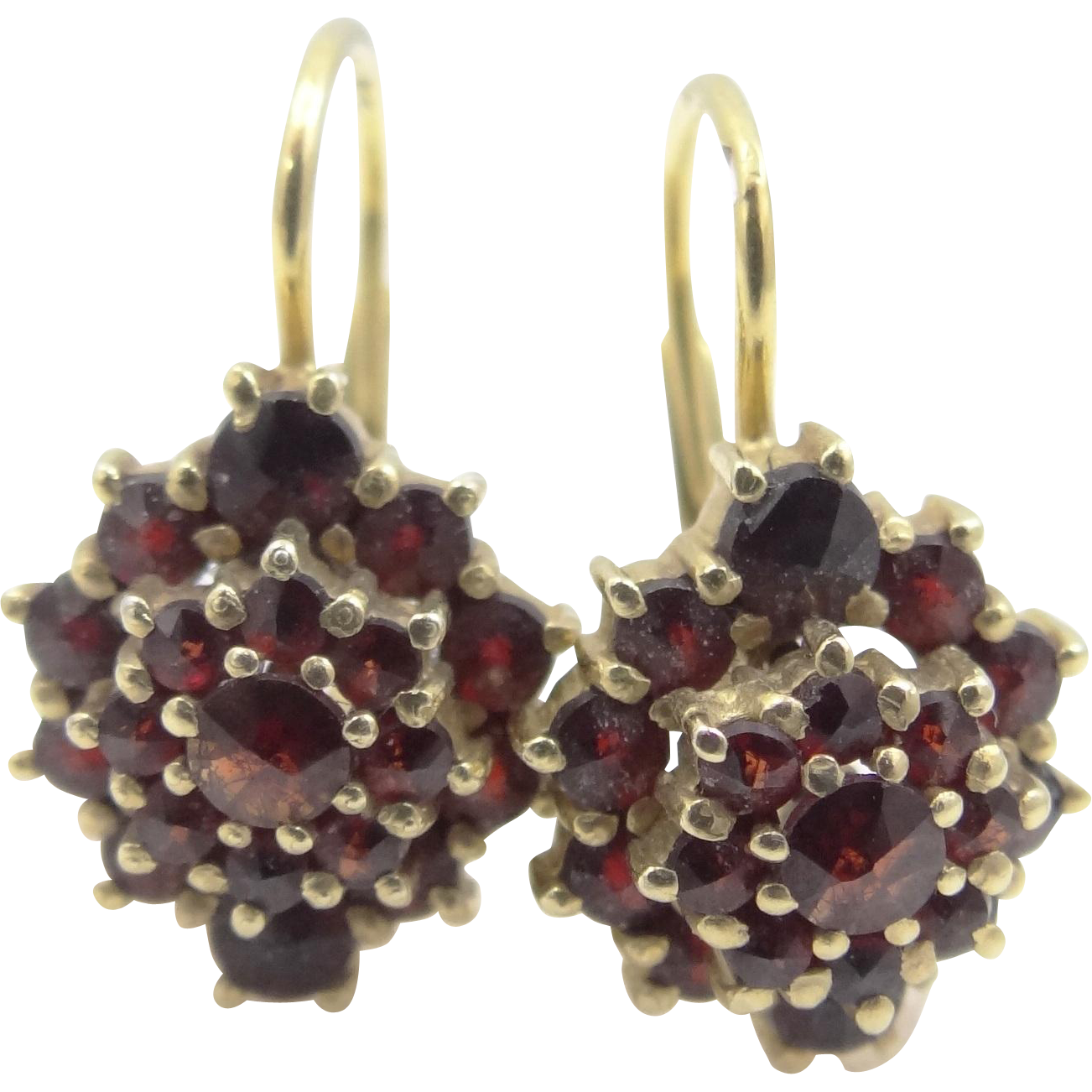 Vintage Bohemian Garnets Lever Back 900 Silver Vermeil Earrings