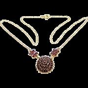 Large Vintage Bohemian Garnets 900 Silver Vermeil Necklace