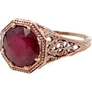 14k Rose Gold Victorian Filigree 1.75 Carat Solitaire Ruby Ring