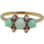 10k Gold Opals and Seed Pearls Victorian Ring