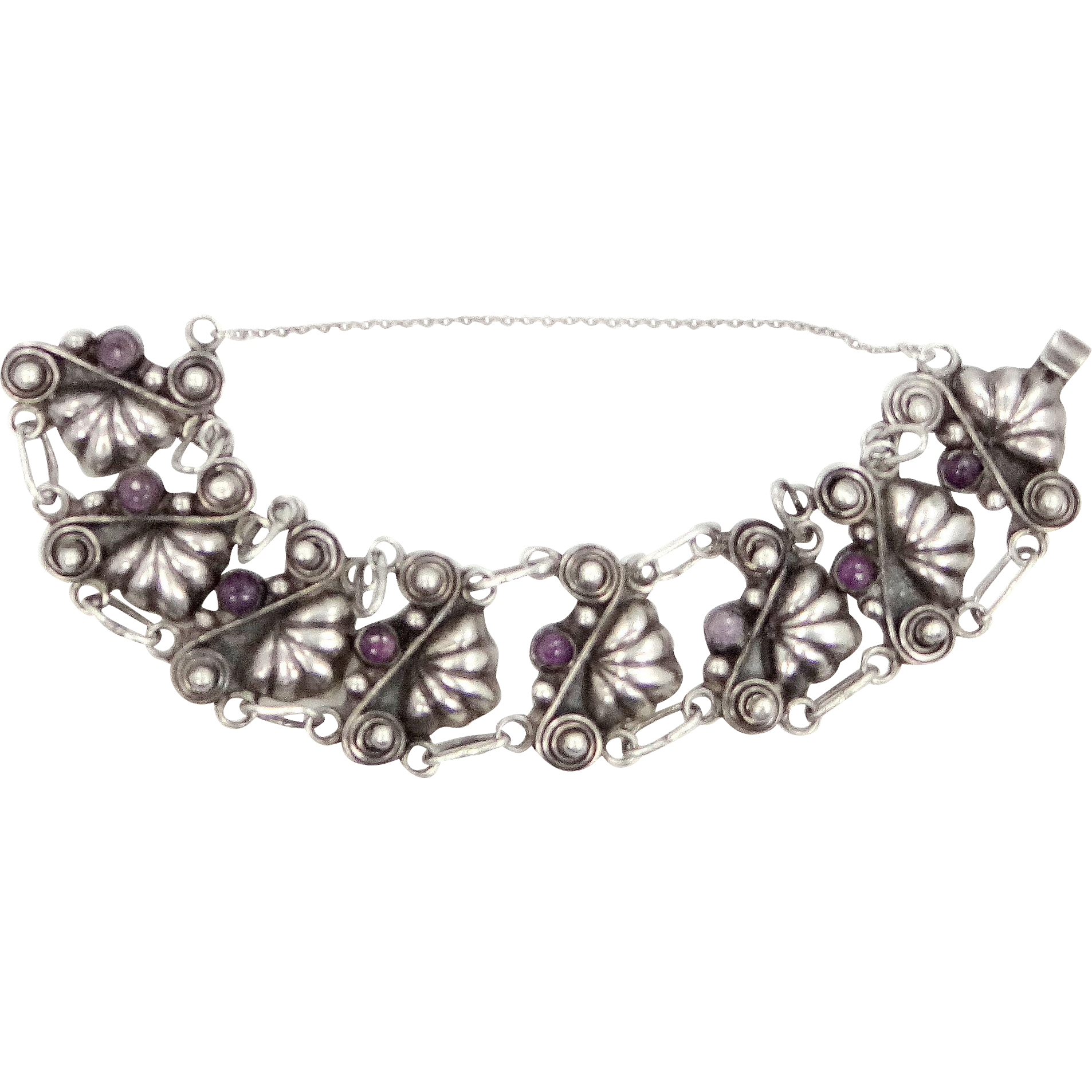 1940s Signed Bernice Goodspeed Taxco Mexico Sterling and Amethysts Bracelet