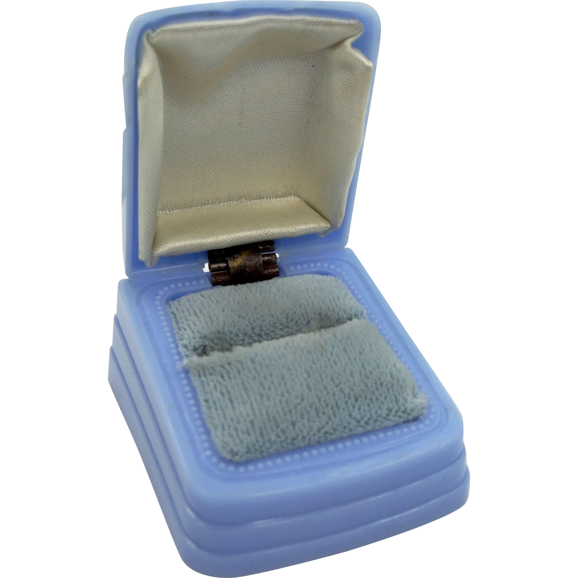 Art Deco Bright Blue Celluloid Ring Box with Velvet and Satin Lining
