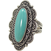 Southwestern Sterling Silver and Turquoise Relios Carolyn Pollack Ring