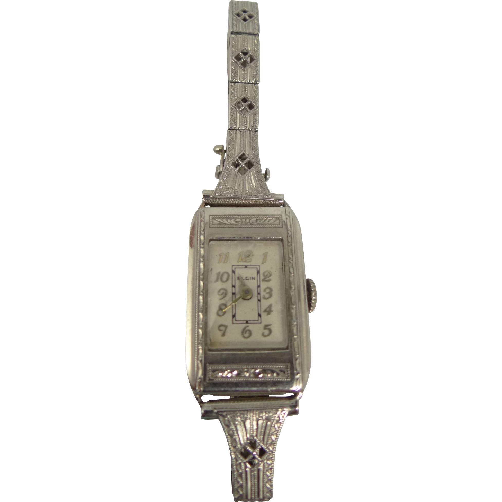 Art Deco 14k White Gold Filigree Elgin 15J Watch and Band