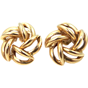 14k Gold Pinwheel Pierced Earrings