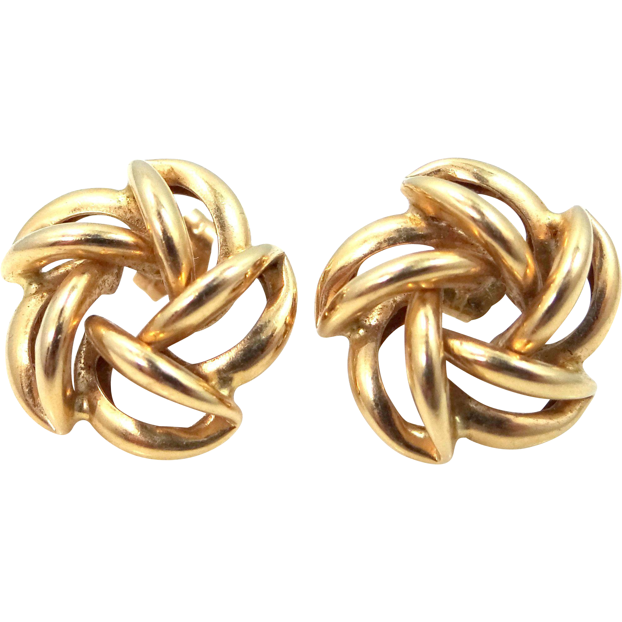 14k Gold Pinwheel Pierced Earrings