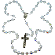 HUGE, really HUGE Sterling Silver Aurora Borealis Crystals Rosary