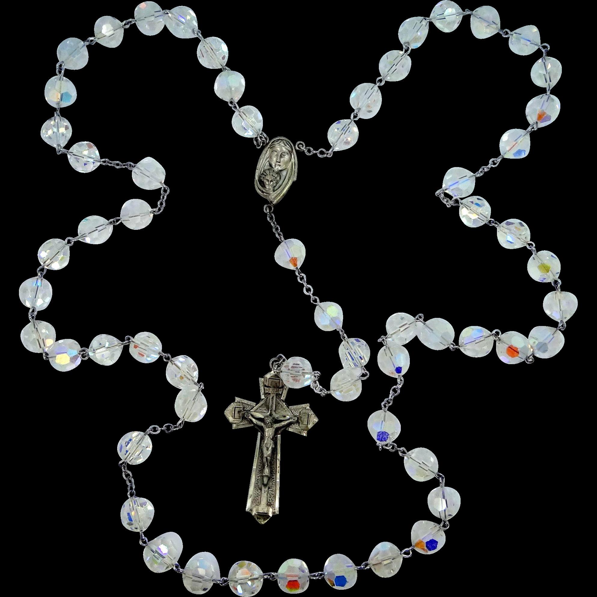 HUGE, really HUGE Sterling Silver Aurora Borealis Crystals Rosary