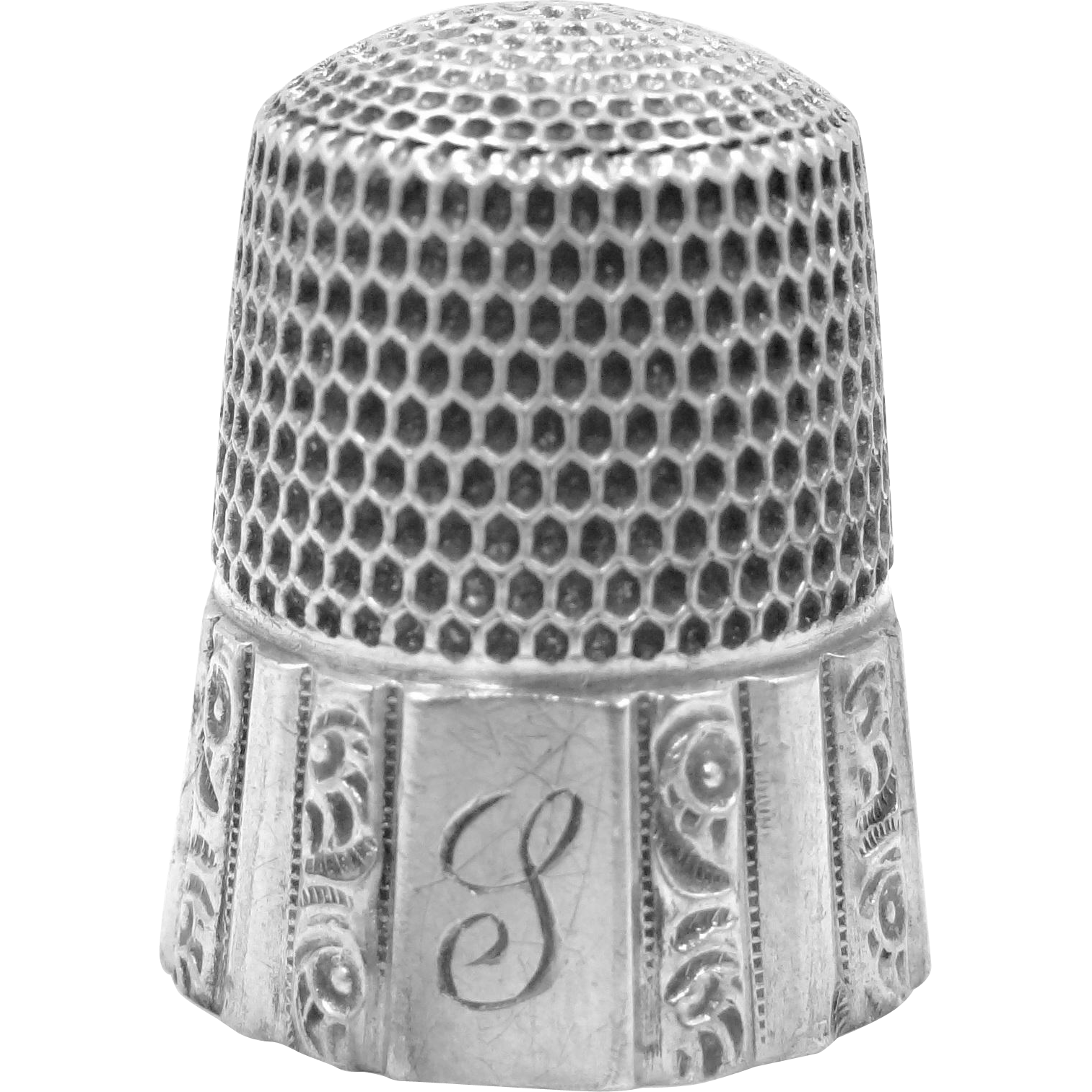 Repousse Paneled Simons Sterling Silver Thimble