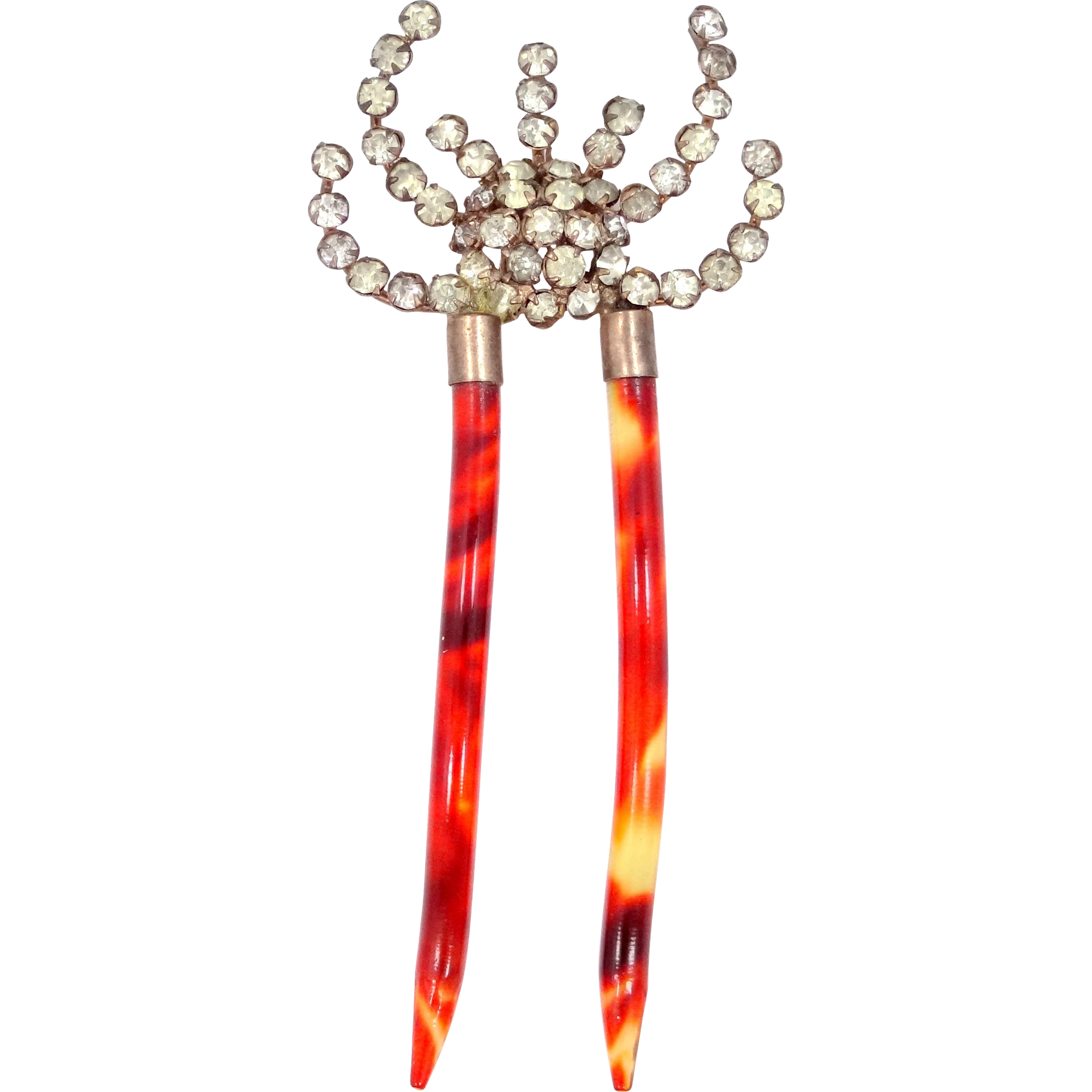 Victorian Celluloid and Crystals Hair Comb
