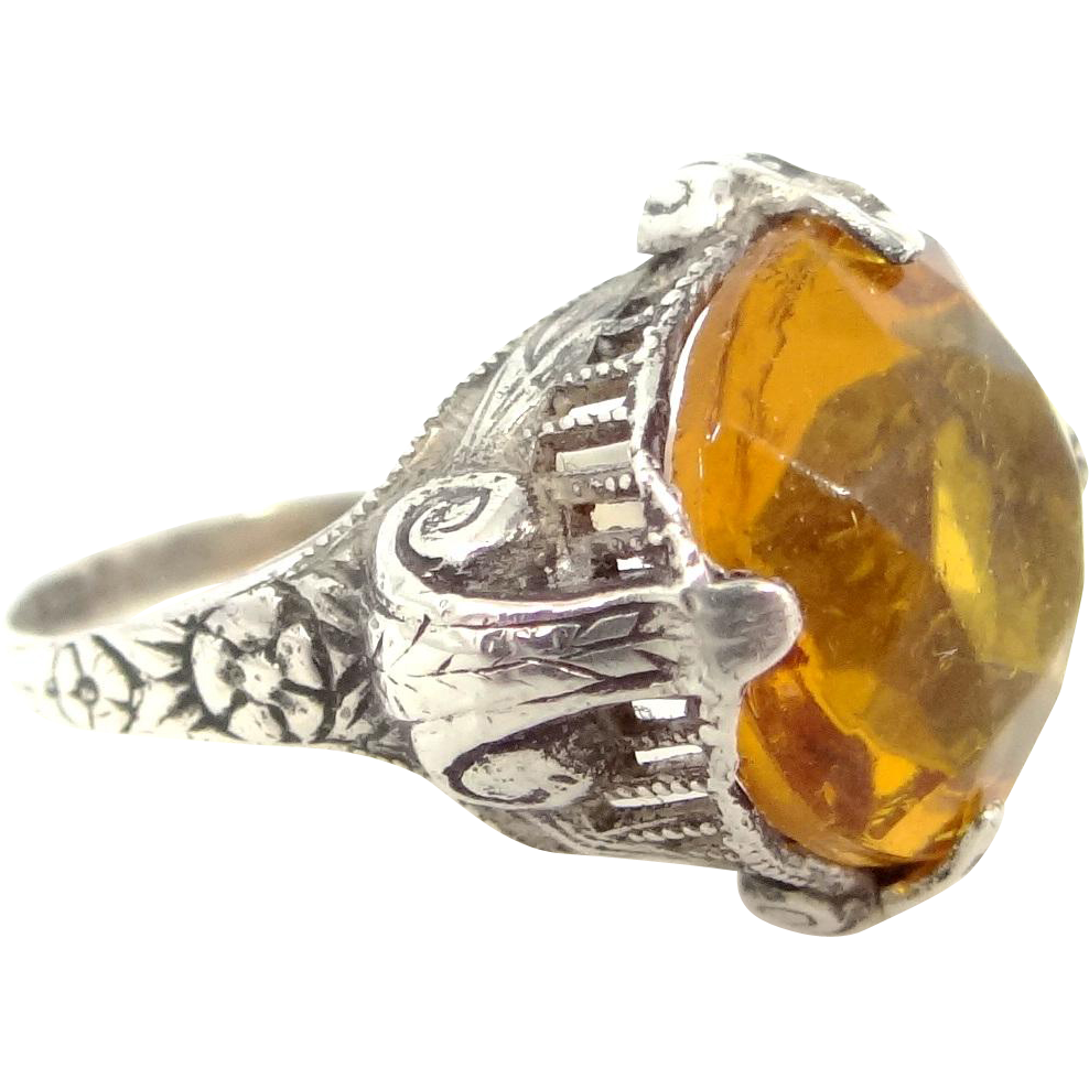 Art Deco Sterling Silver and Golden Topaz Crystal Lady's Ring