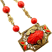 Bright Czechoslovakia Pumpkin Orange Glass and Gilt Brass 1920's Necklace