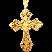 14k Solid Gold Diamond Cut Fiigree Cross Pendant