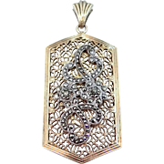 Symmetalic Sterling Silver and 12k Gold Marcasite Filigree Art Deco Pendant